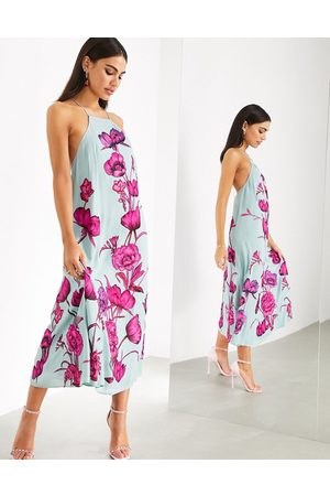 ASOS Women Casual Dresses - Maxi trapeze dress with oversized floral embroidery