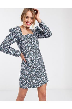 & OTHER STORIES Bold floral puff sleeve mini dress in
