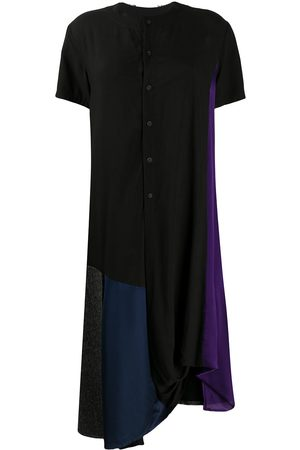 YOHJI YAMAMOTO Women Asymmetrical Dresses - Colour block asymmetric hem shirt dress