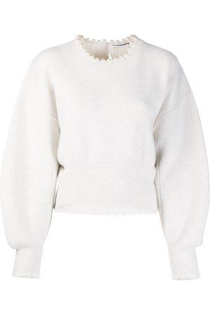 Alexander Wang Pearl embellished slit-back jumper