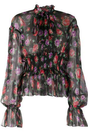 Msgm Floral-print silk blouse