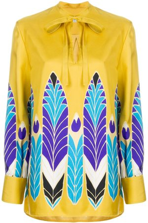 VALENTINO Feather print bow fastening blouse