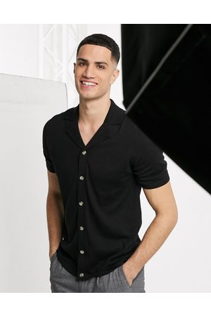 ASOS Knitted button through polo t-shirt in