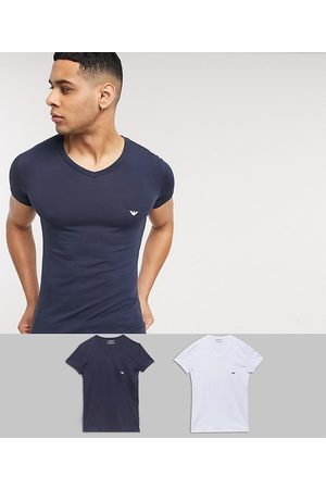Emporio Armani Emporio Armani Loungewear 2 pack v neck logo lounge t-shirts in white and navy-Multi