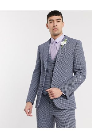 ASOS Wedding skinny suit jacket in and grey wool blend microcheck