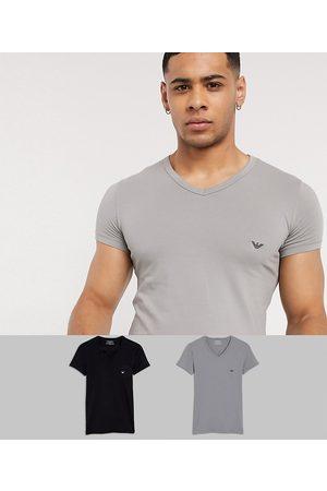 Emporio Armani Men Loungewear - Loungewear 2 pack v neck logo lounge t-shirts in black and grey