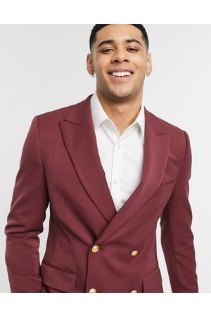 ASOS Skinny double breasted blazer with gold buttons in burgundy