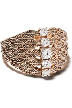 Milka 14kt leaf diamond embellished cocktail ring