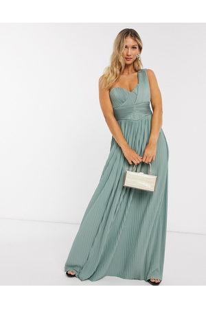 ASOS Women Maxi Dresses - Premium one shoulder pleated panel maxi dress in spearmint