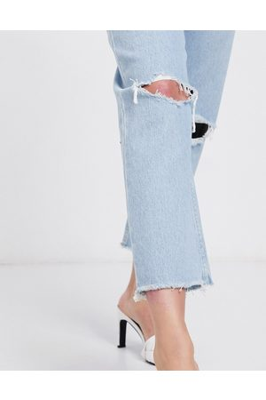 ASOS Recycled Florence authentic straight leg jeans in bright lightwash with rips and raw hem