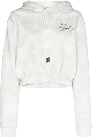 OFF-WHITE Back writing cropped cotton hoodie