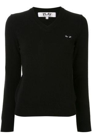 Comme des Garçons Logo embroidered v-neck jumper