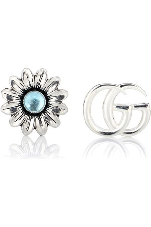 Gucci Double G flower sterling and topaz stud earrings