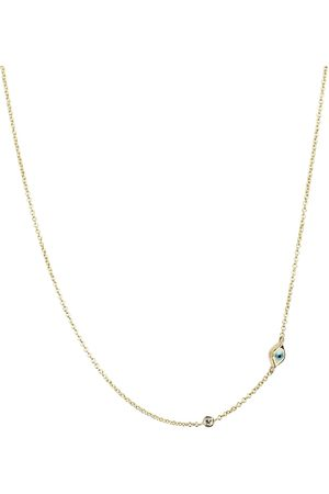 Sydney Evan Mini Evil Eye 14kt yellow and white diamond necklace