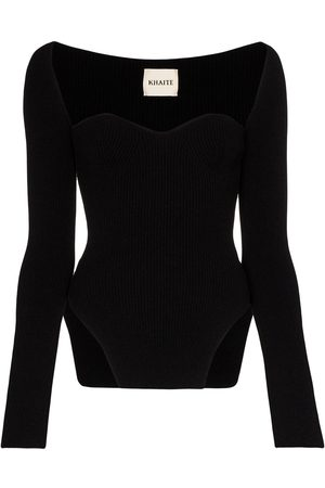 Khaite Maddy ribbed sweetheart neckline top