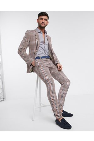 ASOS Super skinny suit trousers in camel multicolour check