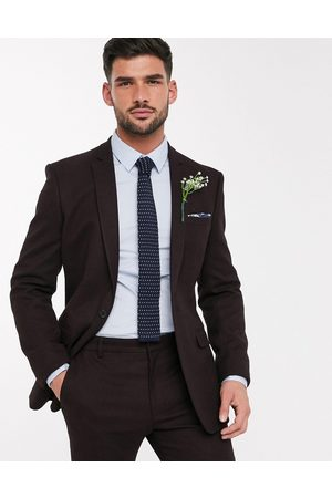 ASOS Wedding skinny suit jacket in wool look in burgundy