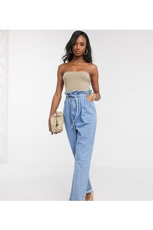ASOS Tall Women Tapered - ASOS DESIGN Tall tapered leg jeans with paper bag waist in light vintage wash