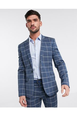 ASOS Super skinny suit jacket in light windowpane check