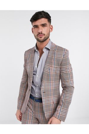 ASOS Super skinny longline suit jacket in camel multicolour check