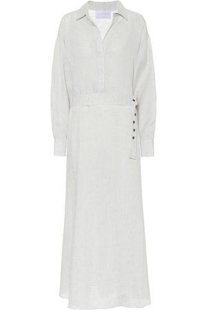 ASCENO Porto linen maxi shirt dress