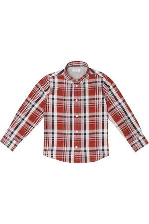 Brunello Cucinelli Checked cotton and linen shirt
