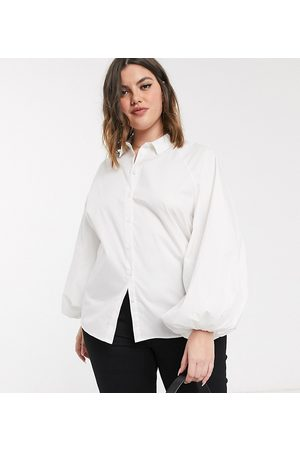 ASOS ASOS DESIGN Curve long volume sleeve shirt in cotton in