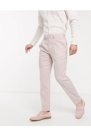 ASOS Wedding slim suit trousers in stretch cotton linen in and white stripe