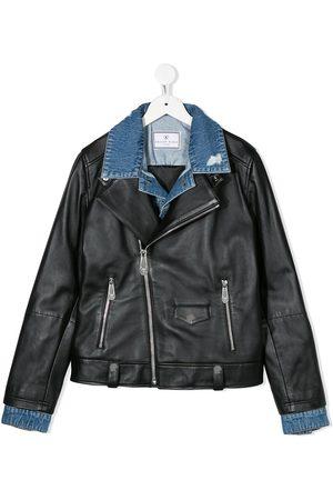 Philipp Plein Denim-collar biker jacket