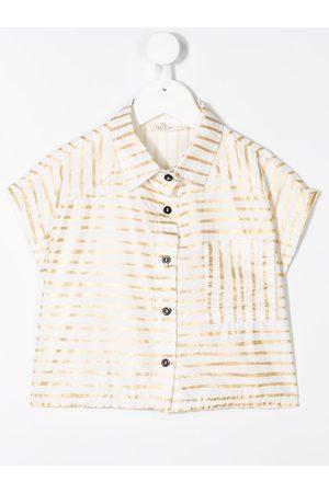 Le pandorine Striped linen cropped shirt