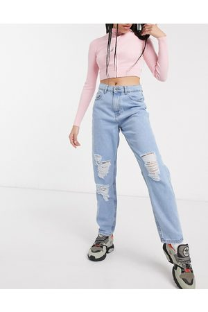 Noisy May Destroyed mom jeans in light wash