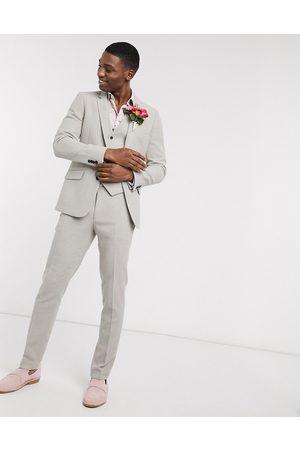 ASOS DESIGN Men Formal Pants - Wedding skinny suit trousers in putty wool blend twill