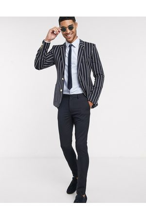 ASOS DESIGN Super skinny blazer in stripe with gold buttons