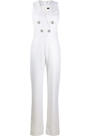 Balmain Double breasted sleeveless lurex jumpsuit