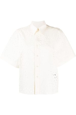 Ami Paris WOMAN SHORT SLEEVES SHIRT WITH ALLOVER EMBROIDERY