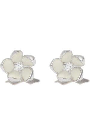 SHAUN LEANE Women Earrings - Silver Cherry Blossom diamond flower earrings