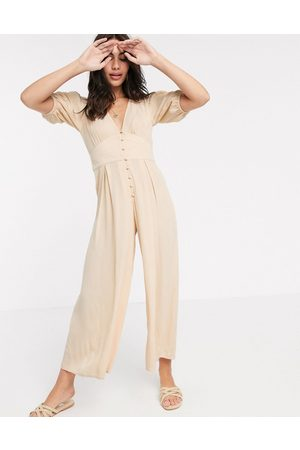 ASOS Crinkle tea jumpsuit with puff sleeve in stone