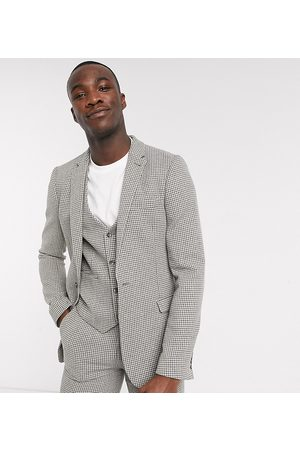 ASOS Tall wedding super skinny suit jacket in wool blend micro houndstooth