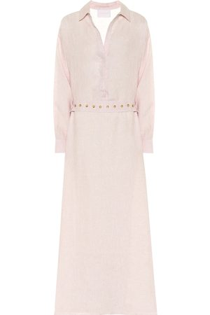 ASCENO Porto linen maxi shirt dress