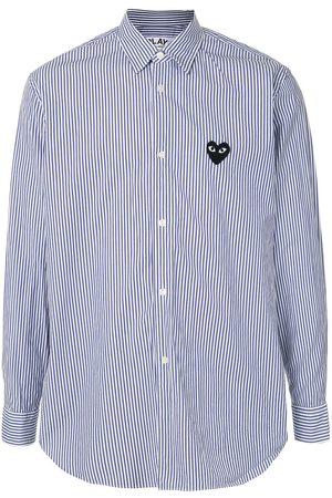 Comme des Garçons Logo-patch striped shirt