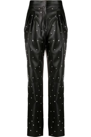 Serafini Embellished leather look trousers