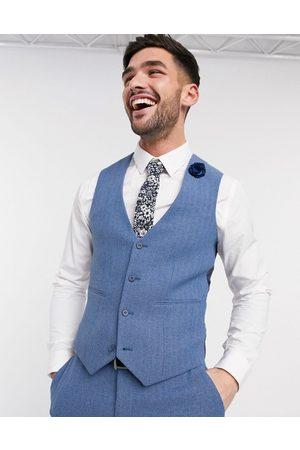 ASOS DESIGN Wedding super skinny suit waistcoat in cornflower wool blend herringbone