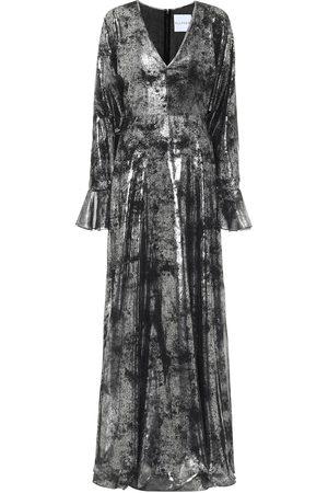 Halpern Printed georgette gown