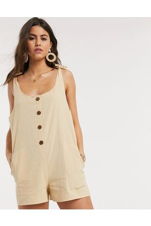 ASOS Women Dungarees - Button front dungaree playsuit in
