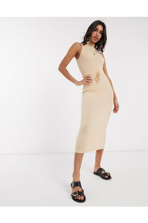 ASOS High neck ribbed midi dress with drawstring in oatmeal marl-Neutral