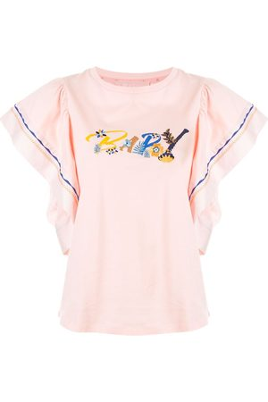 BAPY Women T-shirts - Floral embroidered logo T-shirt
