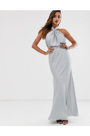 ASOS Satin ruched halter neck maxi dress in ice