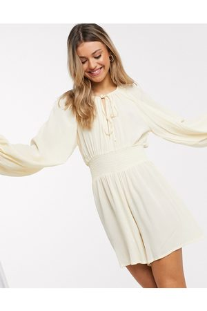 ASOS Shirred bodice playsuit in stone