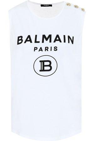 Balmain Logo cotton-jersey top