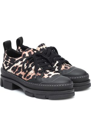 Ganni Leopard-print nylon sneakers